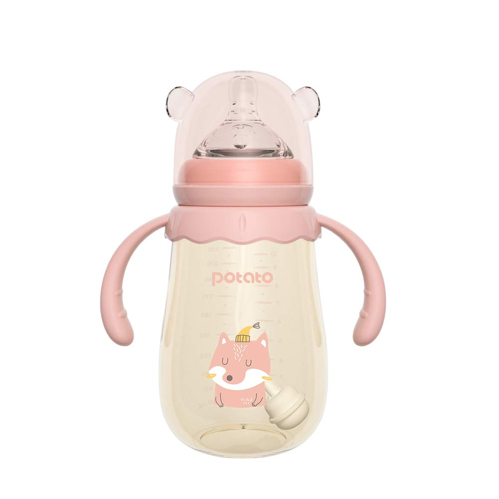 POTATO Baby Bottles PPSU Baby Feeding Bottle 10 oz Anti-Colic Bottles with Silicone Nipples Breastfeeding Bottles for Babies & Toddlers - Pink