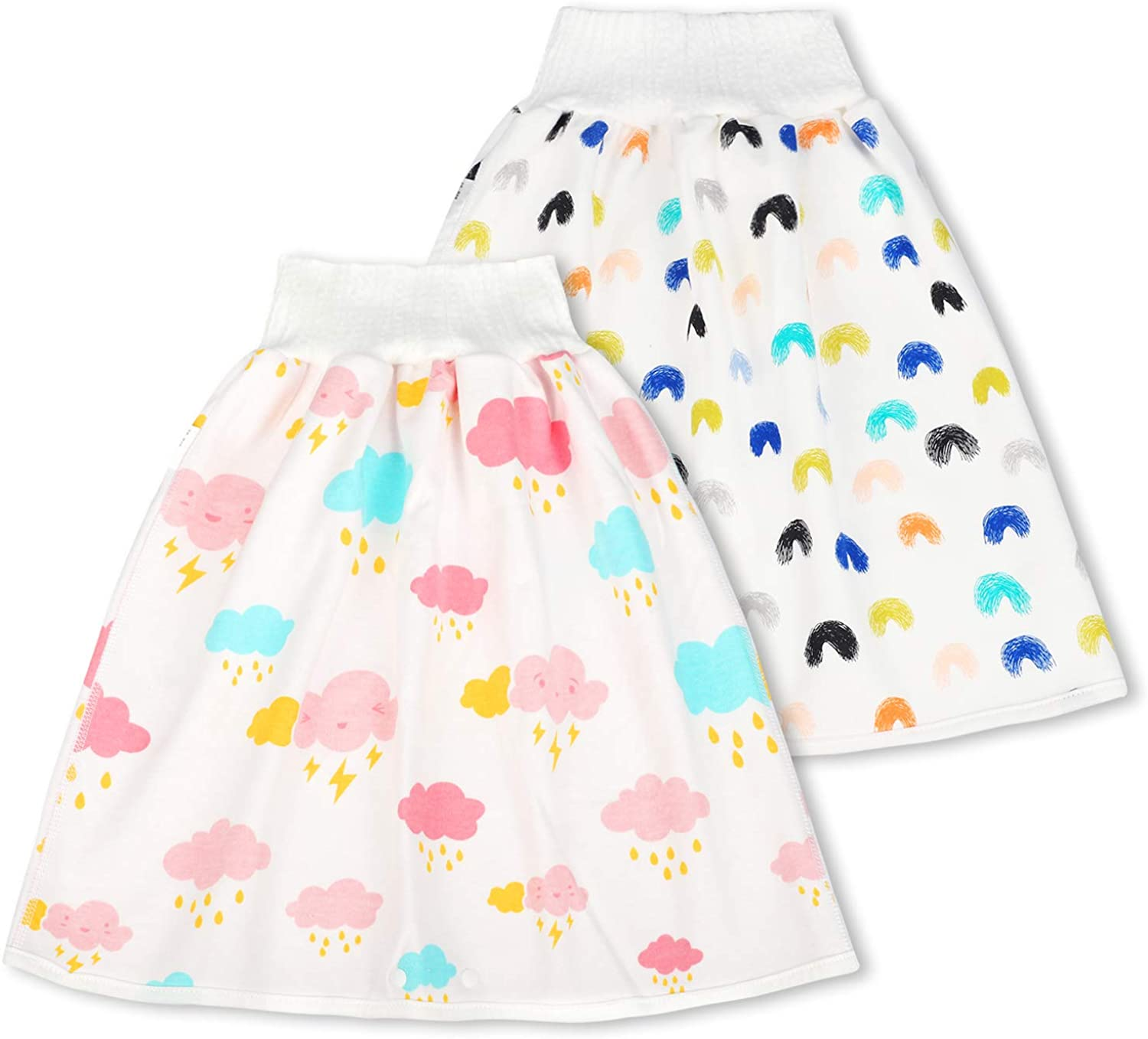 Cotton Training Pants Cloth Diaper Skirts for Baby Boy and Girl Night Time 2 Packs Sleeping Bed Clothes for Potty Training