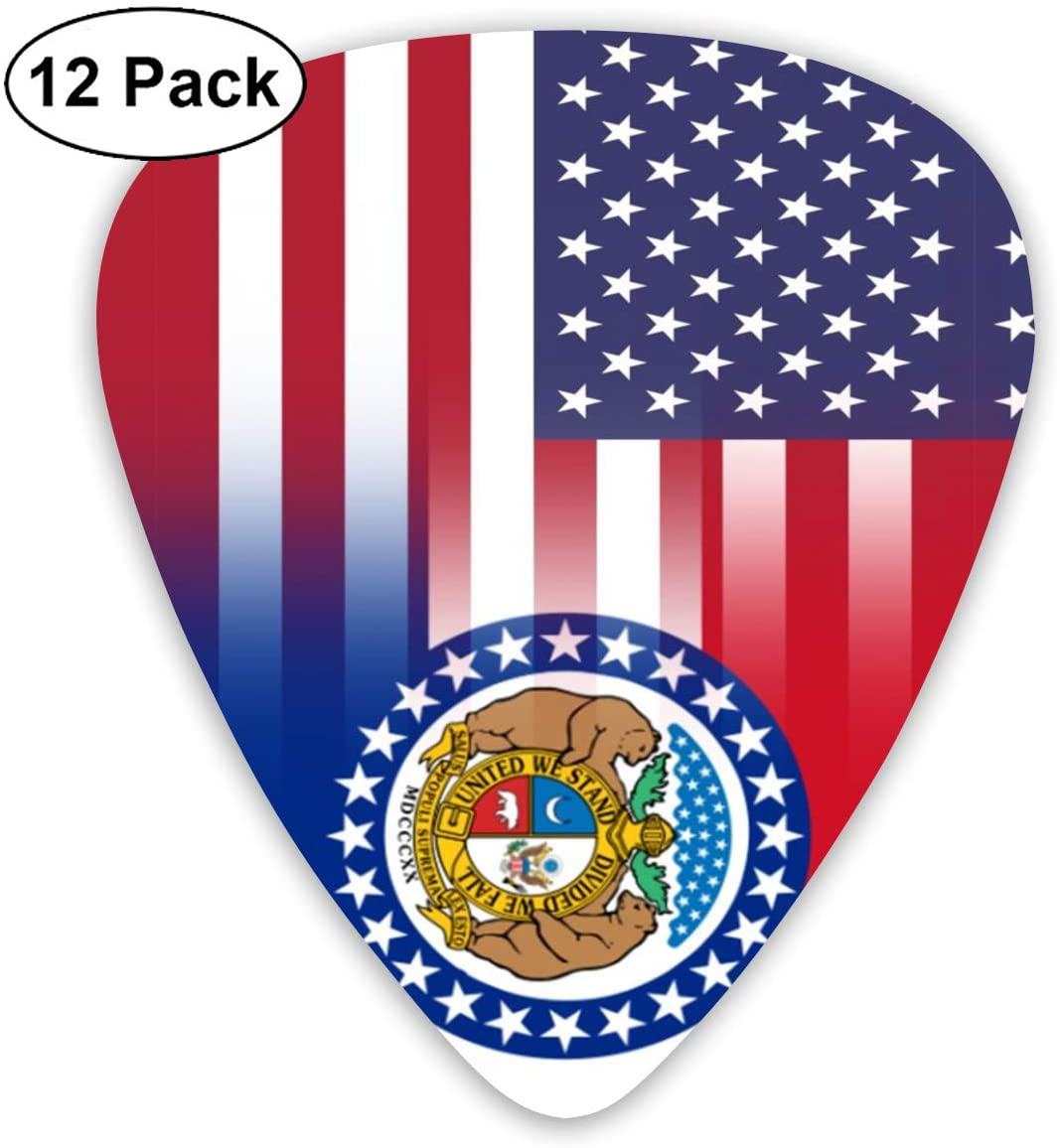 XKAWPC American Missouri State Flag Personalized Guitar Picks 12pcs,Unique Guitar Gift for Your Electric, Acoustic, Or Bass Guitar Includes 0.46, 0.71, 0.96mm