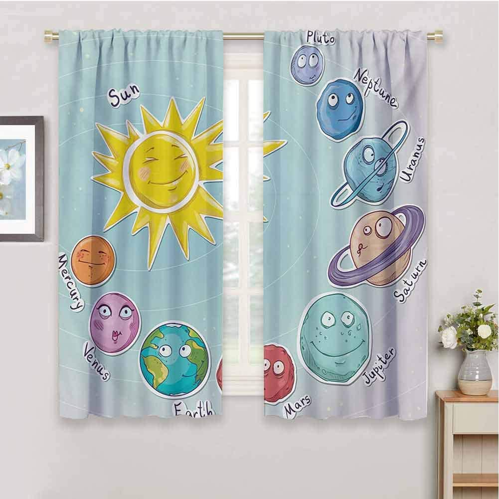 Linhomedecor Spacecurtains for bedrooCute Cartoon Sun and Planets of Solar System Fun Celestial Chart Baby Kids Nursery Themesoundproof curtainMulti72 x 63 inch