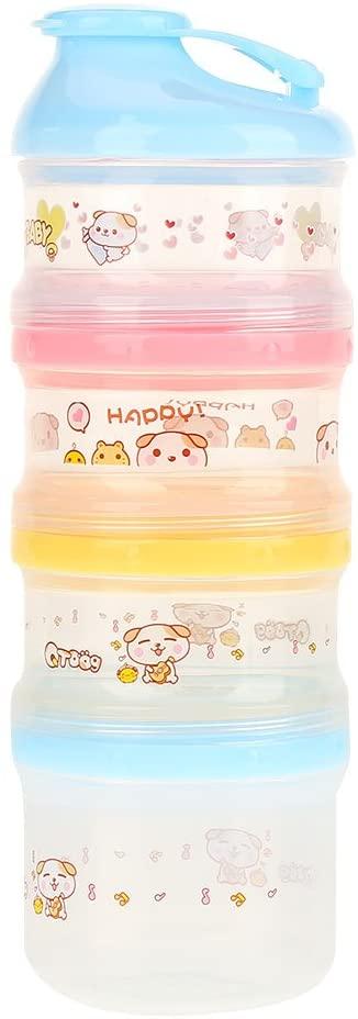 DEWIN Milk Powder Box Compartment Baby Milk Powder Container, Portable Snack Formula Dispenser, 4 Layers, 2 Colors (Color : Blue)