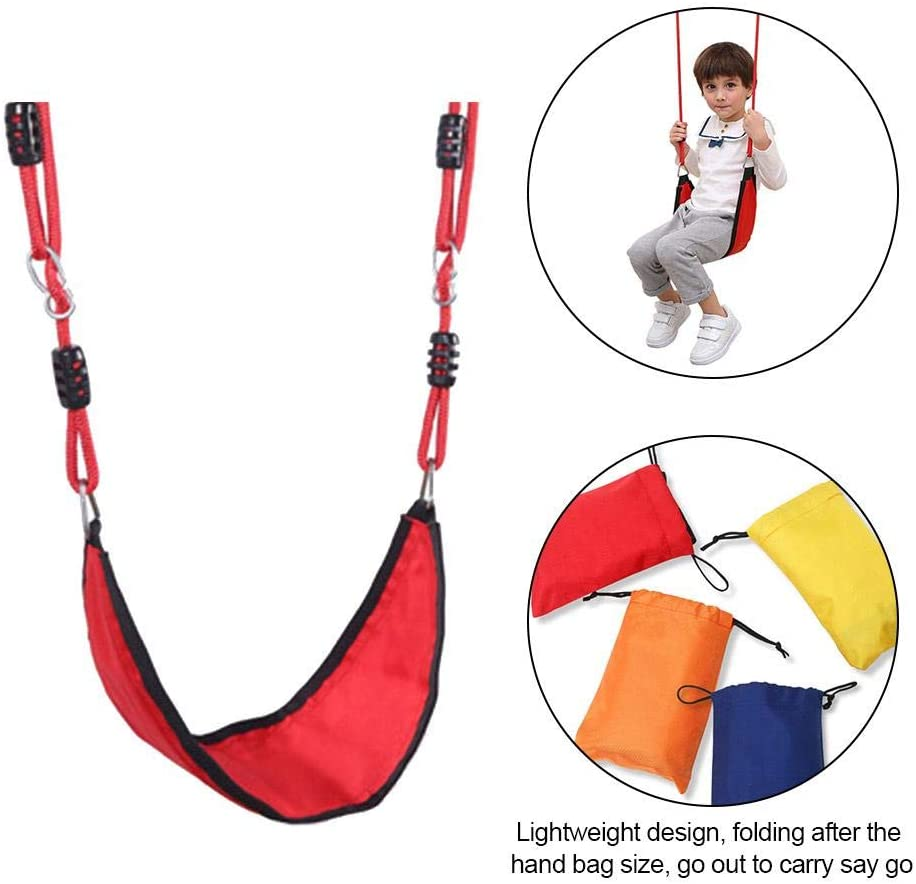 Grehod Children's Swing, Polyester Rope Sling Oxford Cloth Swing, Willow Leaf-Shaped Children's Swing, Indoor and Outdoor Courtyard Garden Swing