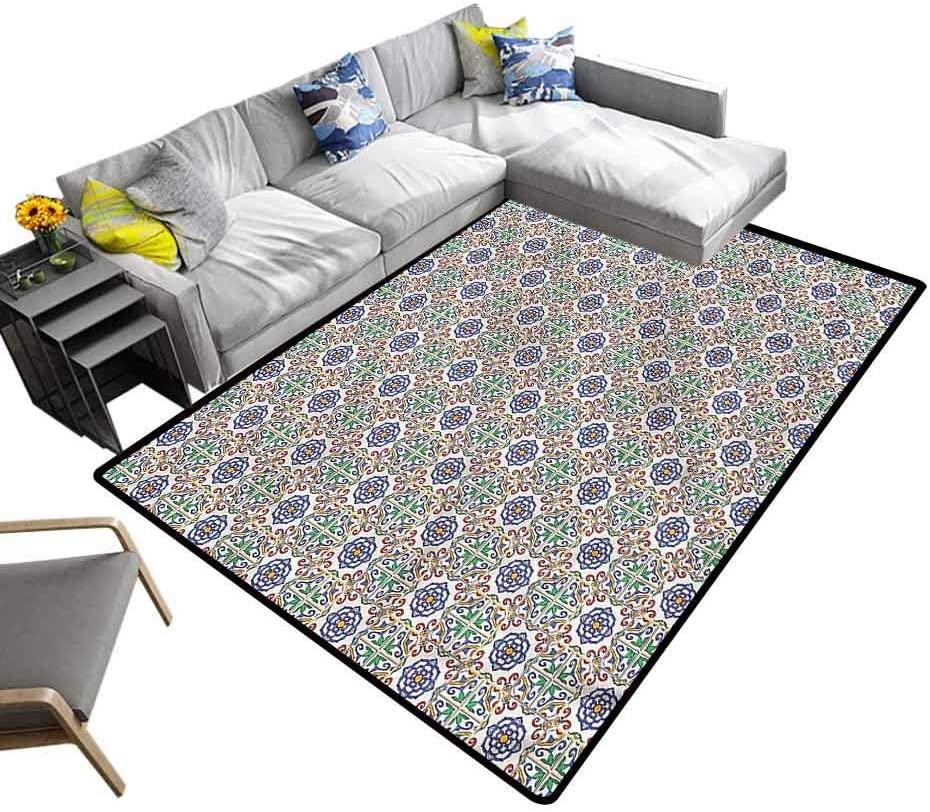 Geometric, Nursery Rugs Portuguese Tiles Baby Floor Playmats Crawling Mat for Baby Children Playroom Women Yoga, 6.5'x 10'