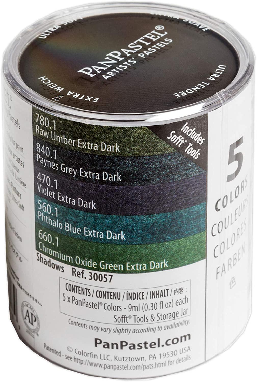 PanPastel 30057 Shadows 5 Color Set Ultra Soft Artist Pastel w/Sofft Tools