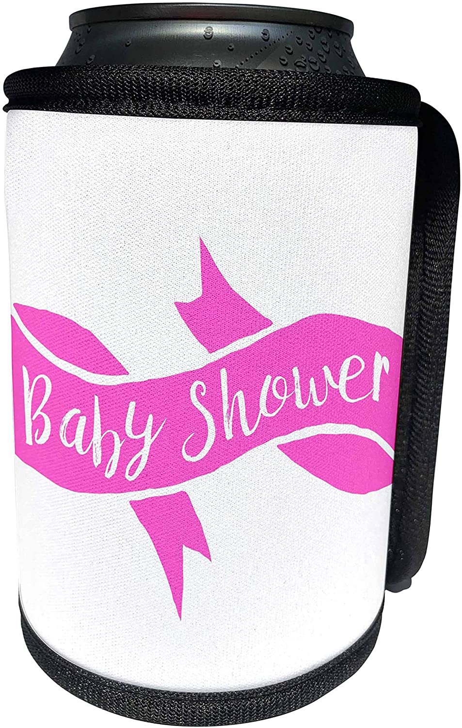 3dRose Xander announcement quotes - Baby shower, pink lettering on a pink banner - Can Cooler Bottle Wrap (cc_256518_1)