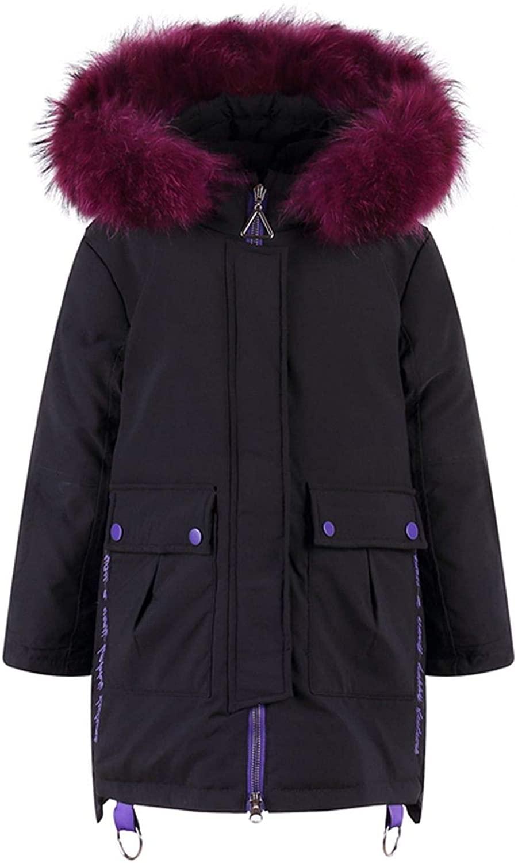 rainwater-shop Girls Winter Jacket Thick Warm Raccoon Fur Long Down Jacket 5 14 Years Children Snowsuit Parka Coat