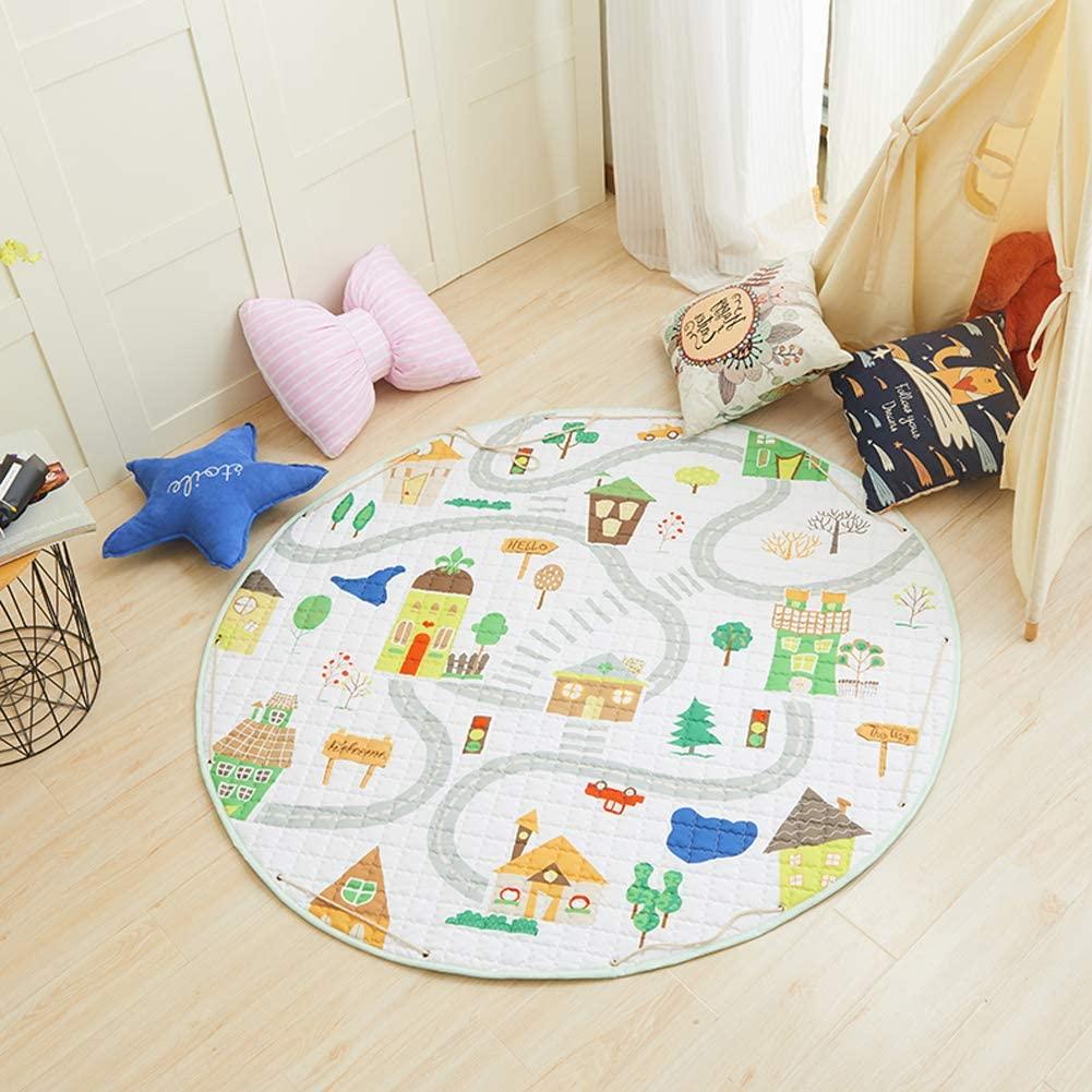 HUIJU Kids Play Mat Round,Washable Round Rugs,Printed Round Kids Rug,for Boy Girl Playroom Nursery Bedroom Living Room Classroom