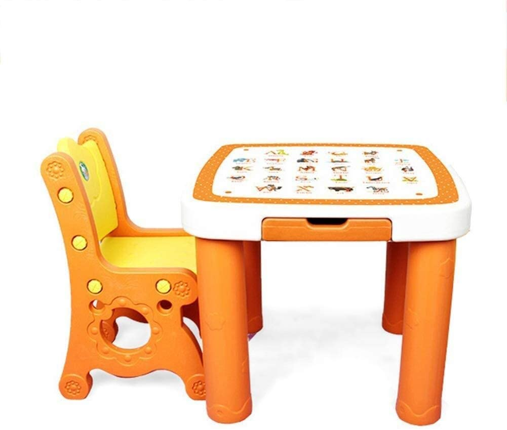 JN Children's Study Desk Table Chair Sets for Kids Storage Letter Pattern Gaming Room Kindergarten Strong Carrying Capacity, Light Weight Children's Study Table and Chair Set (Color : A)