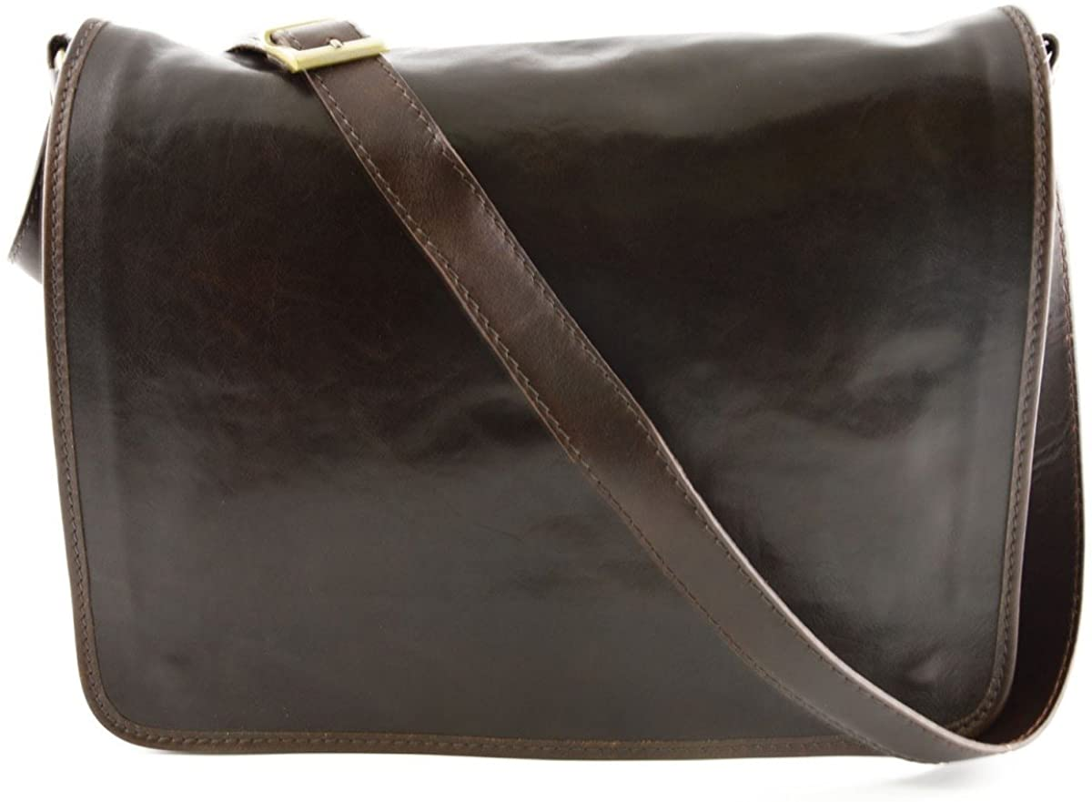 Leather Messenger Bag Color Dark Brown