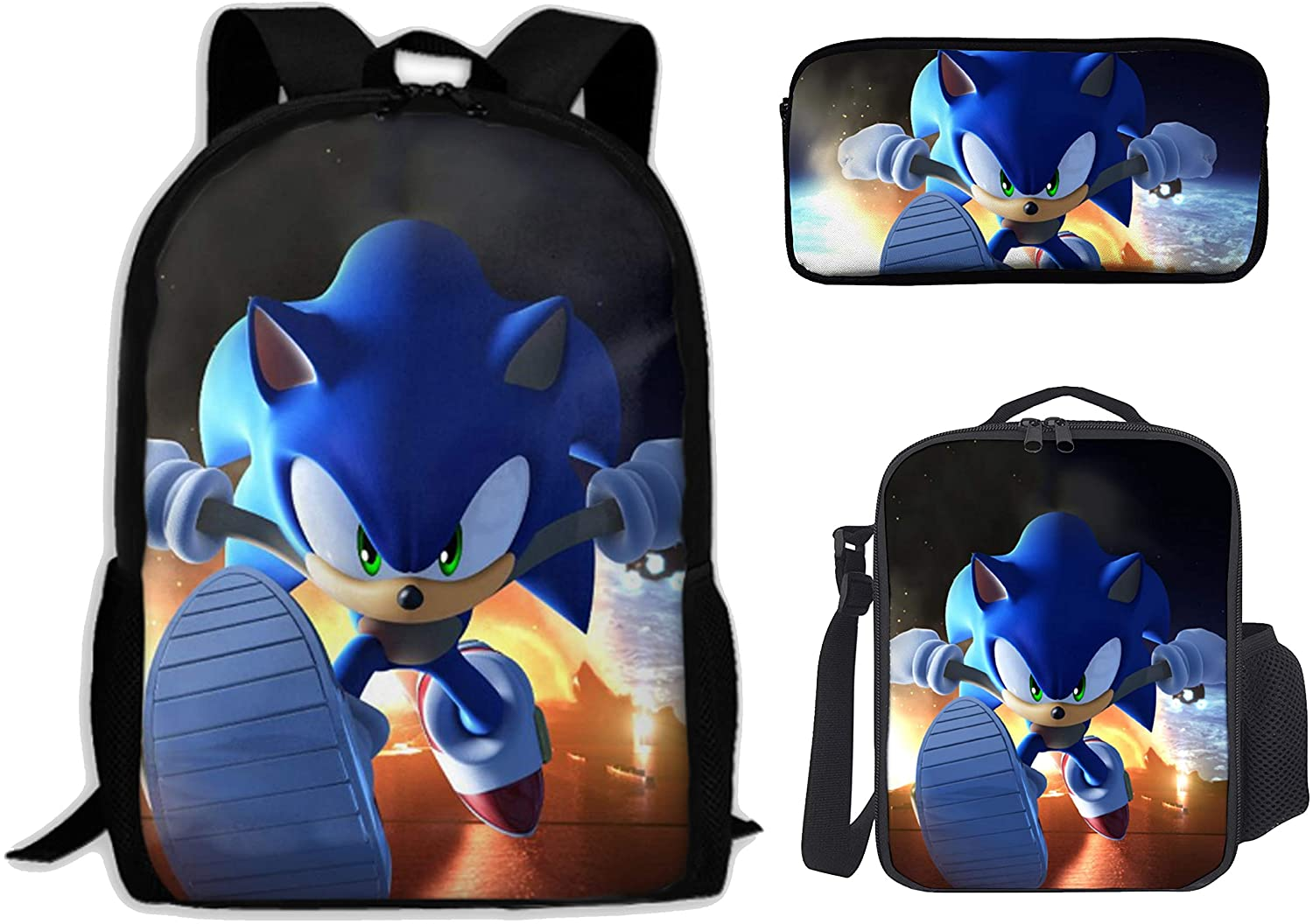 Sonic The Hedgehog 3 Pieces School Backpack Set With Lunch Bag Pencil Case For Boys Girls, Large Capacity