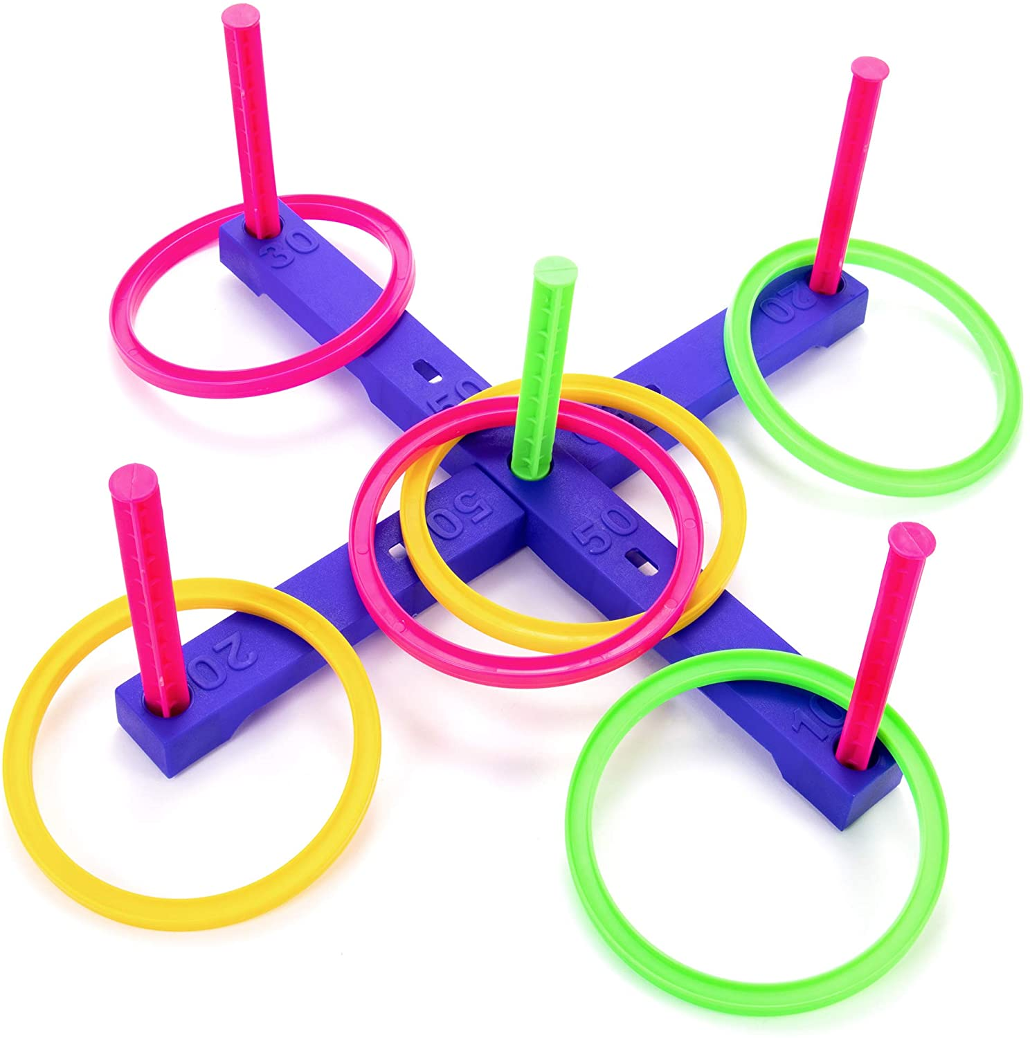 MIDWAY MONSTERS Neon Ring Toss - Play & Go Portable Toss Game Peg Board - Classic Indoor and Outdoor Activities - Carnivals, Barbecues, Parties, and Family Fun