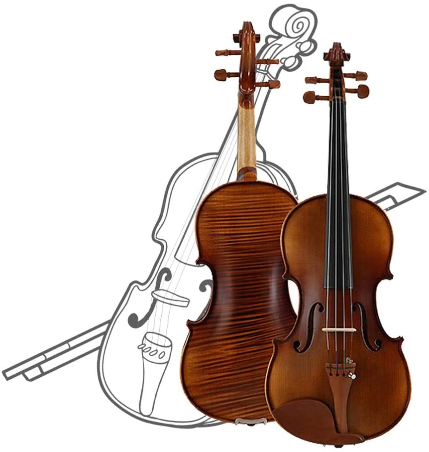 Violin Acoustic Violin Exquisite Workmanship Convenient Tuning Polishing Professional Grading Adult Child Beginner Complete Accessories, 5 Sizes yyfang (Color : Brown, Size : /1/2)