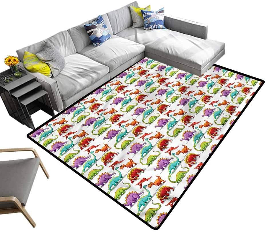 Jurassic, Living Room Carpets Colorful Cartoon Herbivore Baby Floor Playmats Crawling Mat for Kids Living Room Nursery Home Decor, 4'x 4'