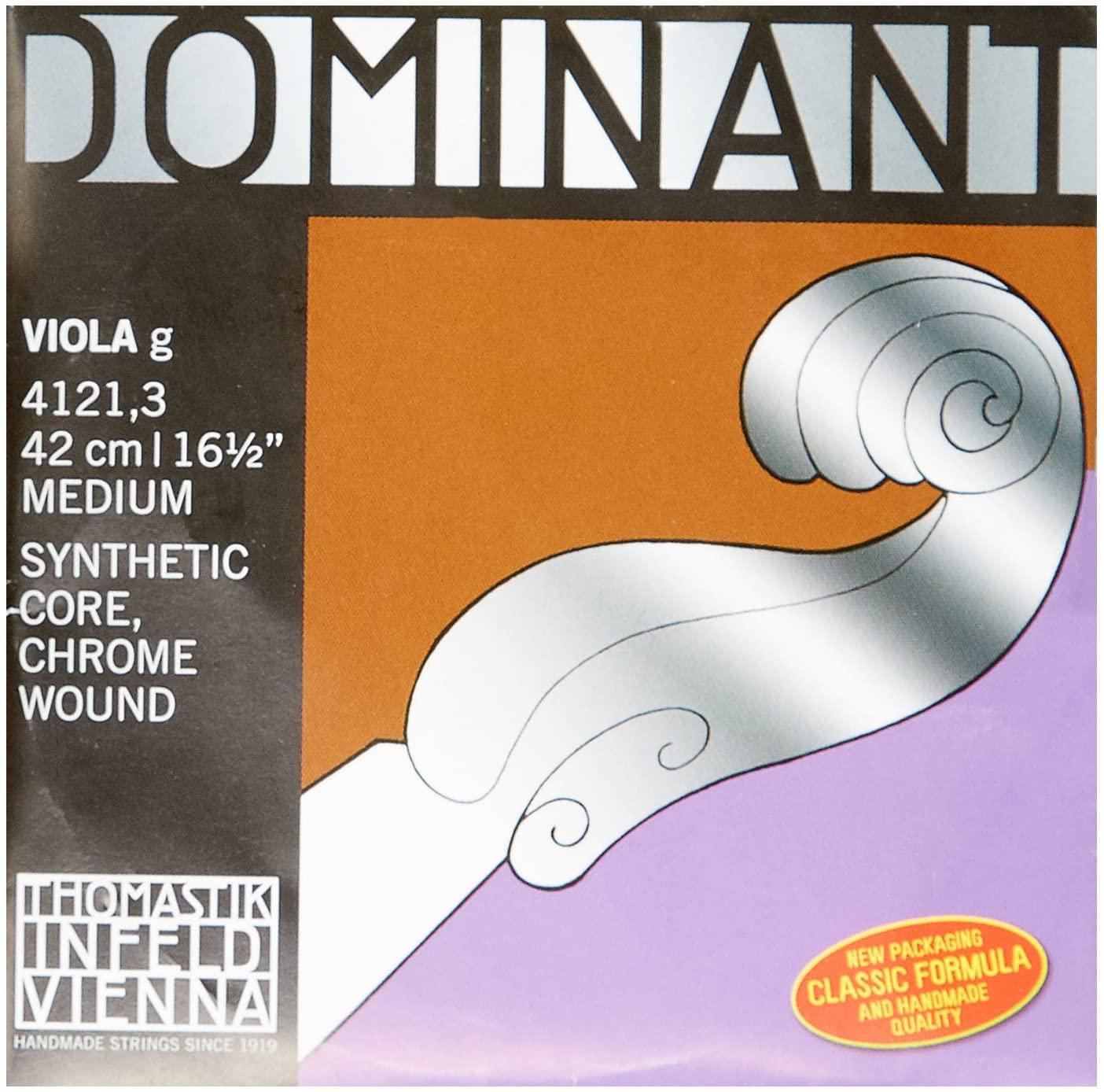 Thomastik-Infeld 4121.3 Dominant, Viola String, Single G String, 4/4 Size, 16.5-Inch, Perlon Core Chrome Wound