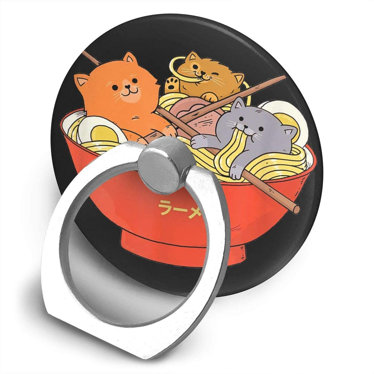 Zwinz Kawaii Anime Cat Japanese Ramen Noodles Gift Alloy Mobile Phone Ring Bracket,360 Degree Rotating Ring Stand Grip Mounts