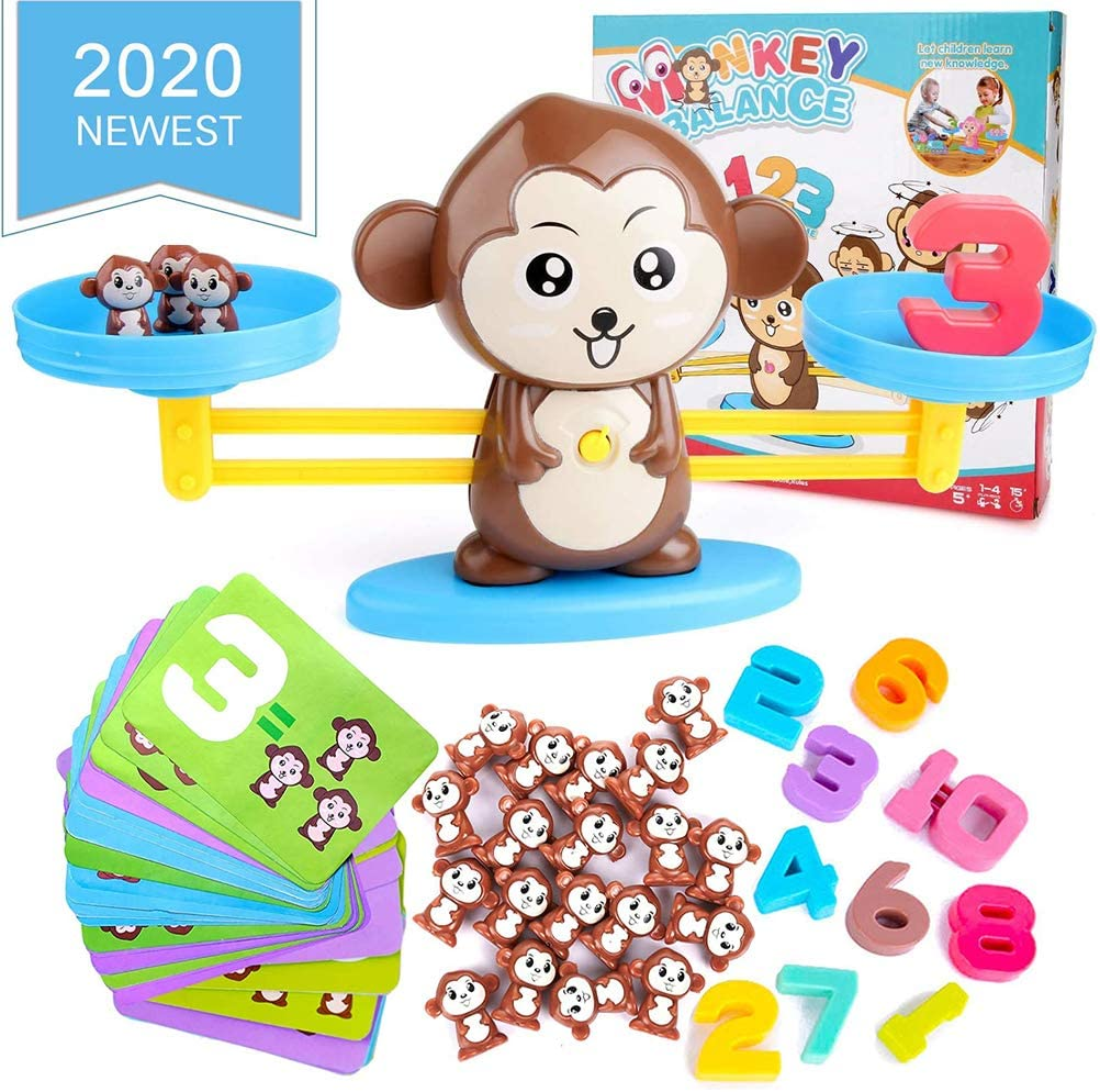 FIOTOK Monkey Balance Counting Cool Math Games,STEM Math Teaching Tool Counting Toy & Balance Measuring Fun Educational Children's Gift for Girls & Boys Kids Ages 5+ (64-Piece Set)