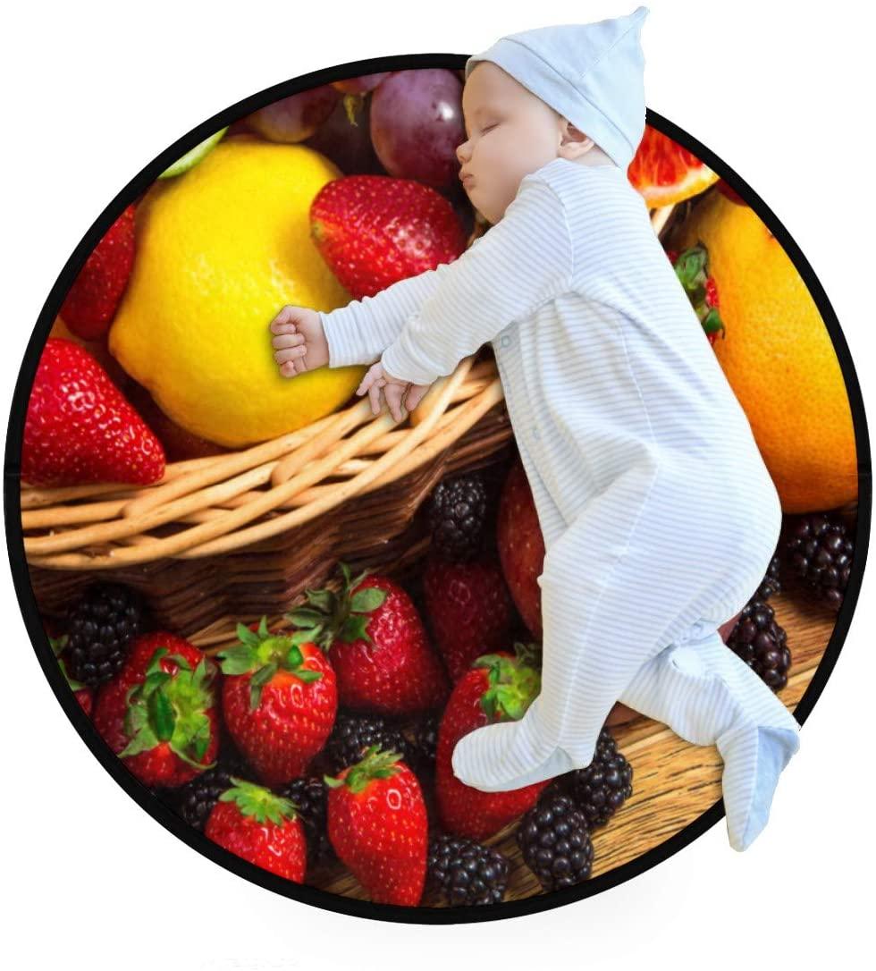 Strawberry BlackBerry Llemon Apple Grape Orange Kids Round Rug Baby Crawling Non-Slip Mats Child Activity Play Mat for Bedroom Playroom Home Decor (Diameter 27.6)