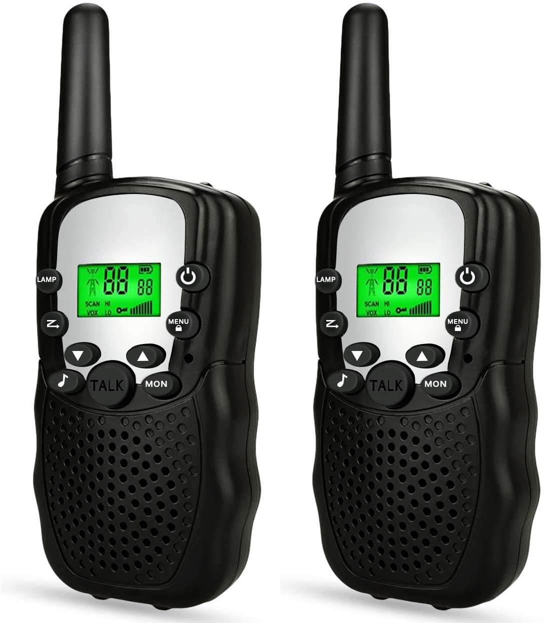 YRE Kid's Toy walkie-Talkie, Hand-held Long-Distance Radio Toy, Children's Birthday Gift Mini walkie-Talkie Outdoor Adventure Camping Trekking 2PCS,Black