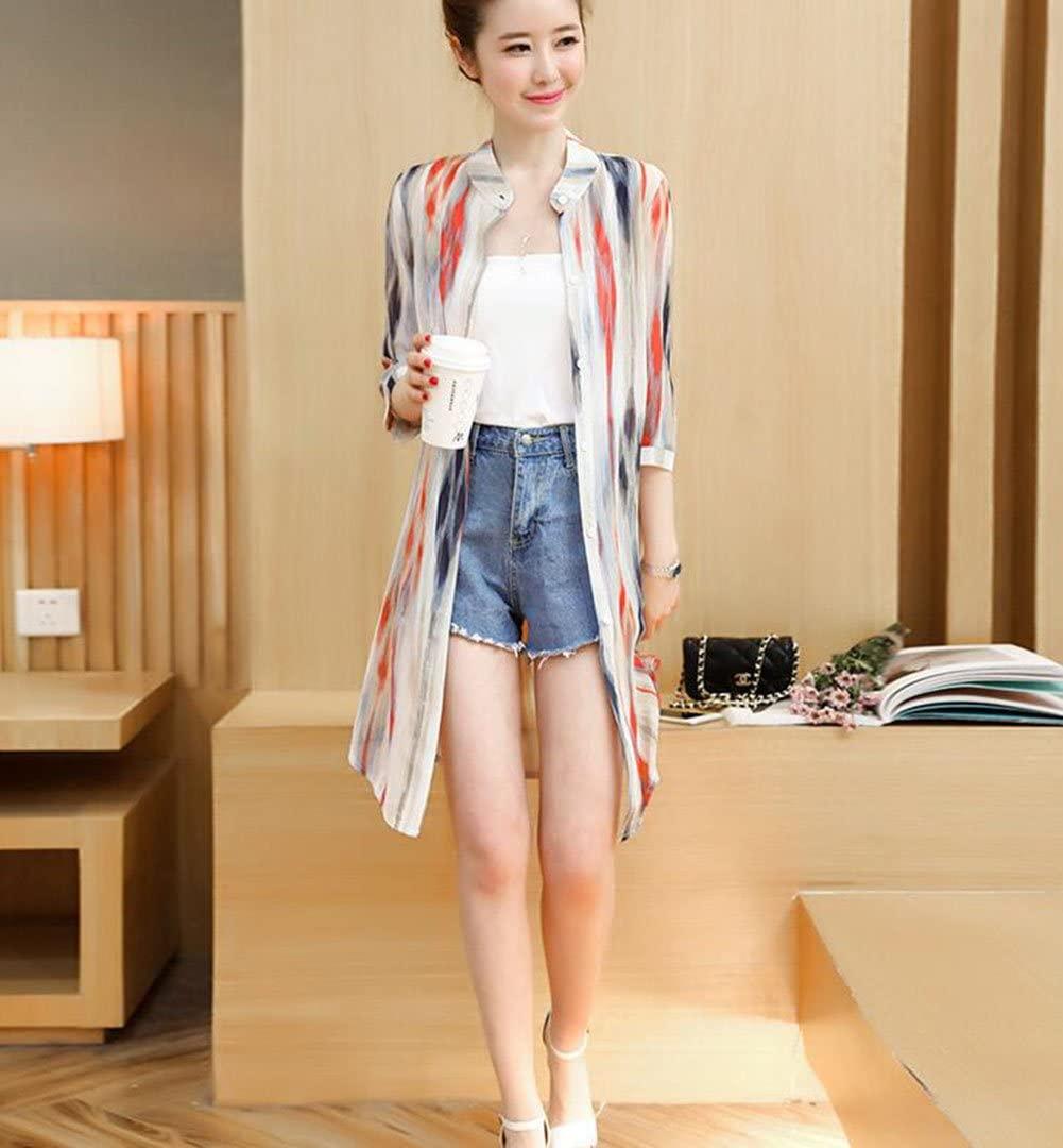 HUAN Women's Beach Cover Up Chiffon Floral Boho Summer Cardigan Kimono Blouse, Ladies Stylish Sun Protection Clothing (Color : 1, Size : M)