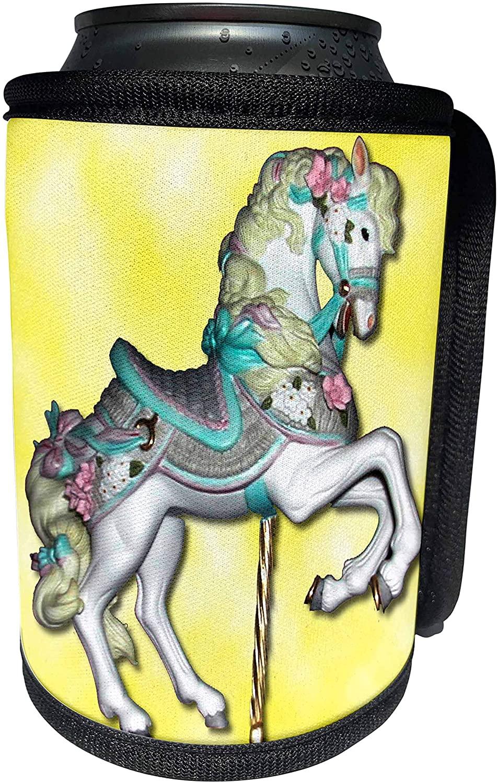 3dRose Carousel - Carousel Horse in Yellow - Can Cooler Bottle Wrap (cc_1187_1)