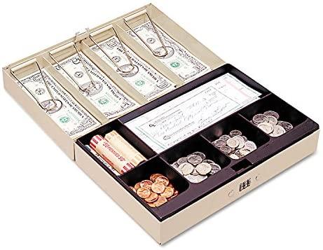 MMF221619003 - Heavy-Duty Steel Lay-Flat Cash Box w/6 Compartments