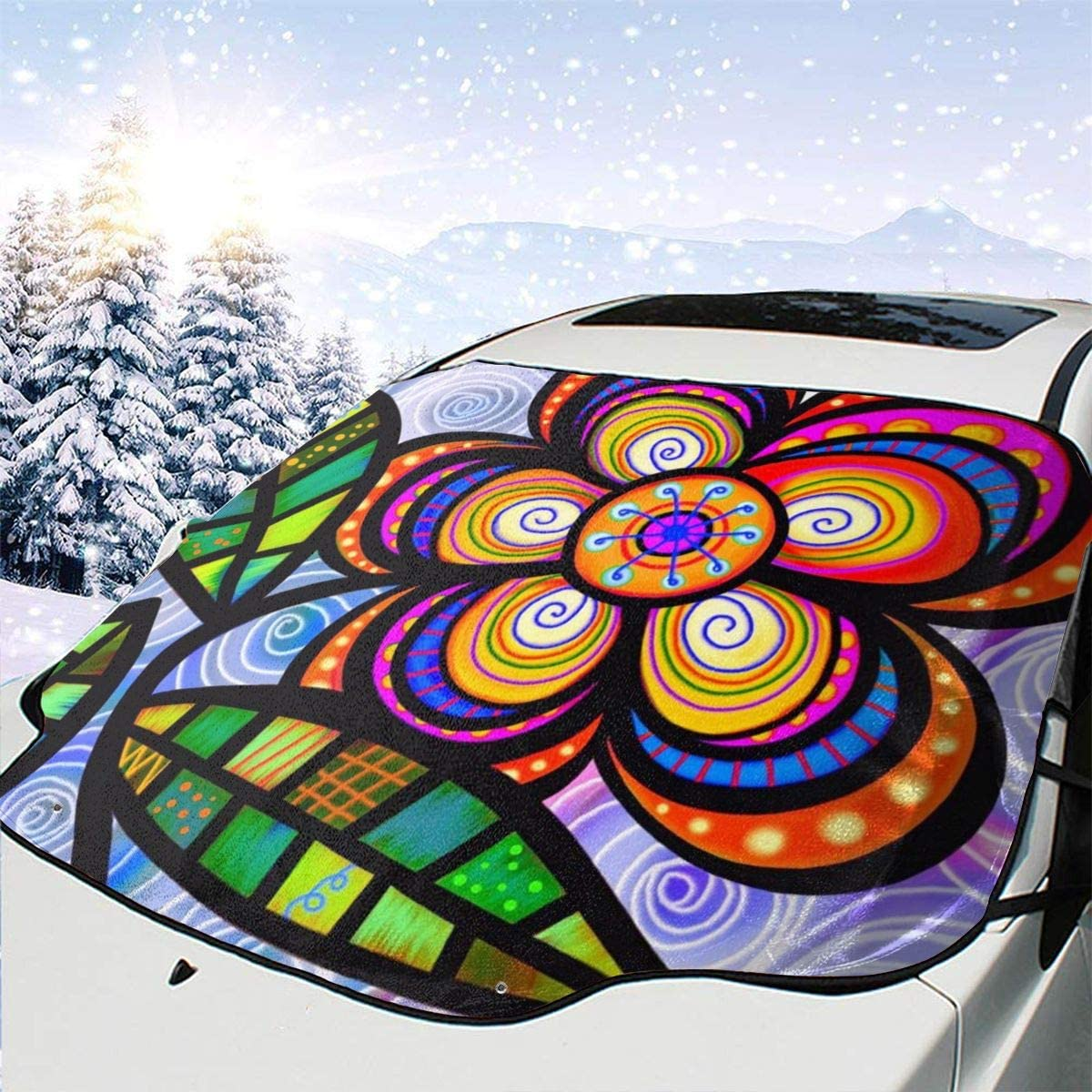 THONFIRE Car Front Window Windshields Frost Sun Shade Patterned Flower Cover Rainproof Blocks Heat Keeps Your Vehicle Cool Visor Protector Auto Autumn Heat Reflector