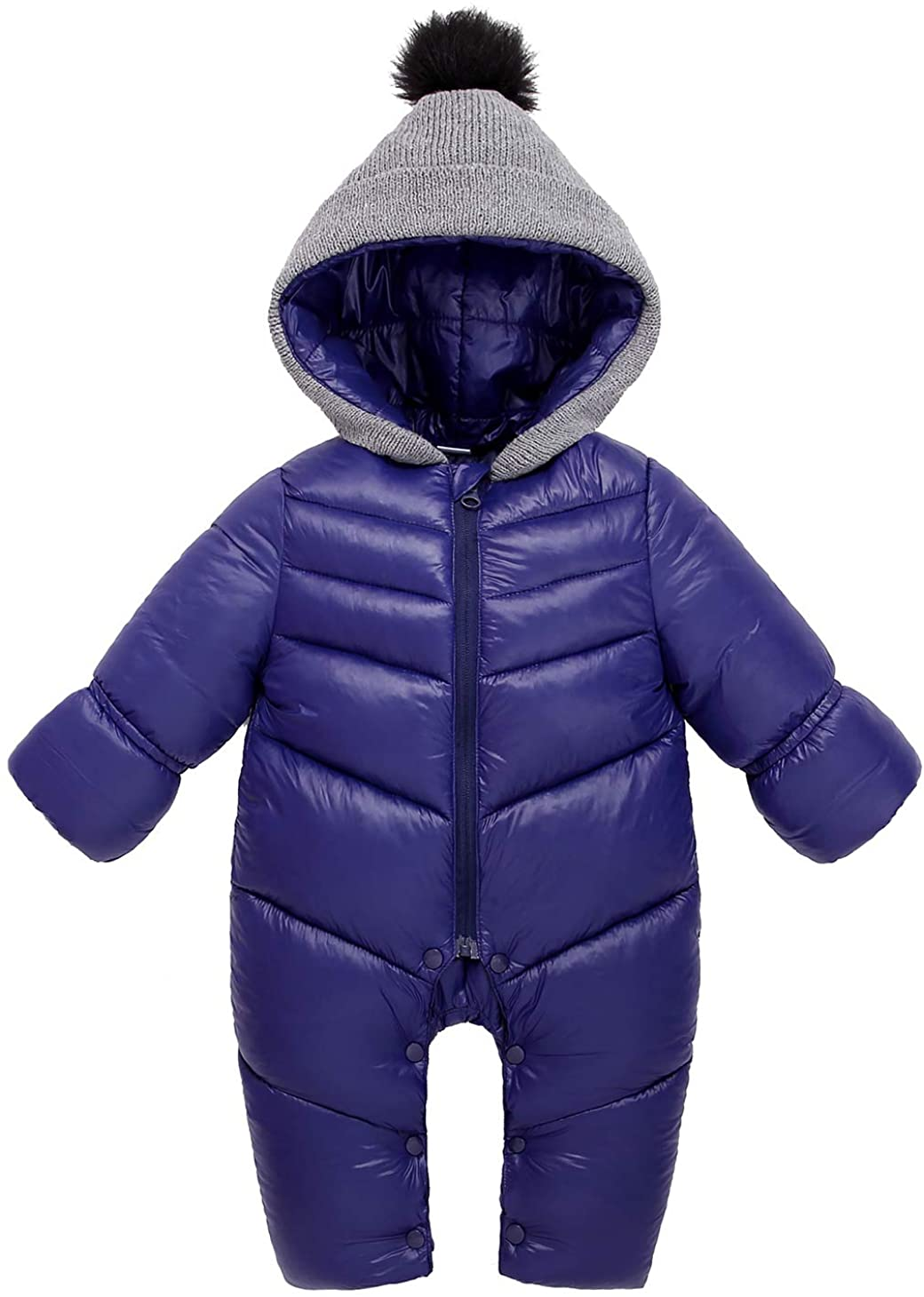 FEOYA Baby Snowsuit Long Sleeves Elastic Cuffs Solid Color Puffer Jackets