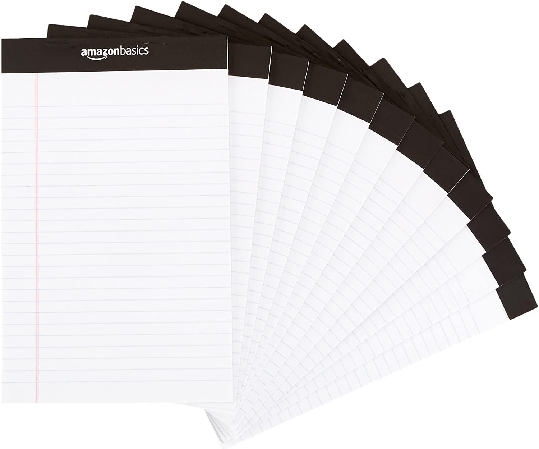 DHgateBasics Narrow Ruled 5 x 8-Inch Writing Pad - White (50 Sheet Paper Pads, 12 pack)
