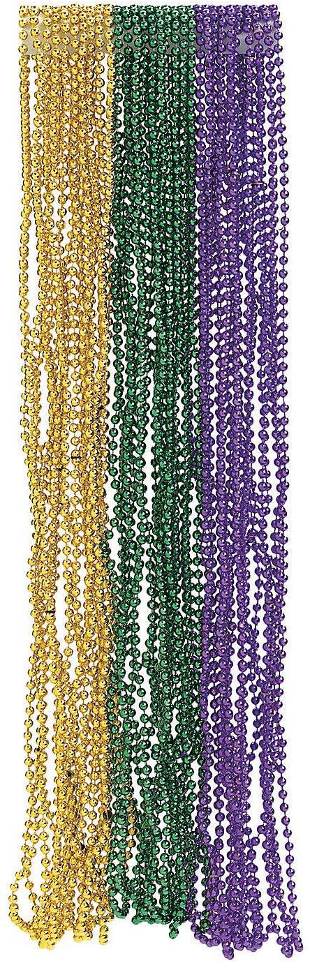 Fun Express - Metallic Mardi Gras Beads for Mardi Gras - Jewelry - Mardi Gras Beads - Mot Round - Mardi Gras - 144 Pieces