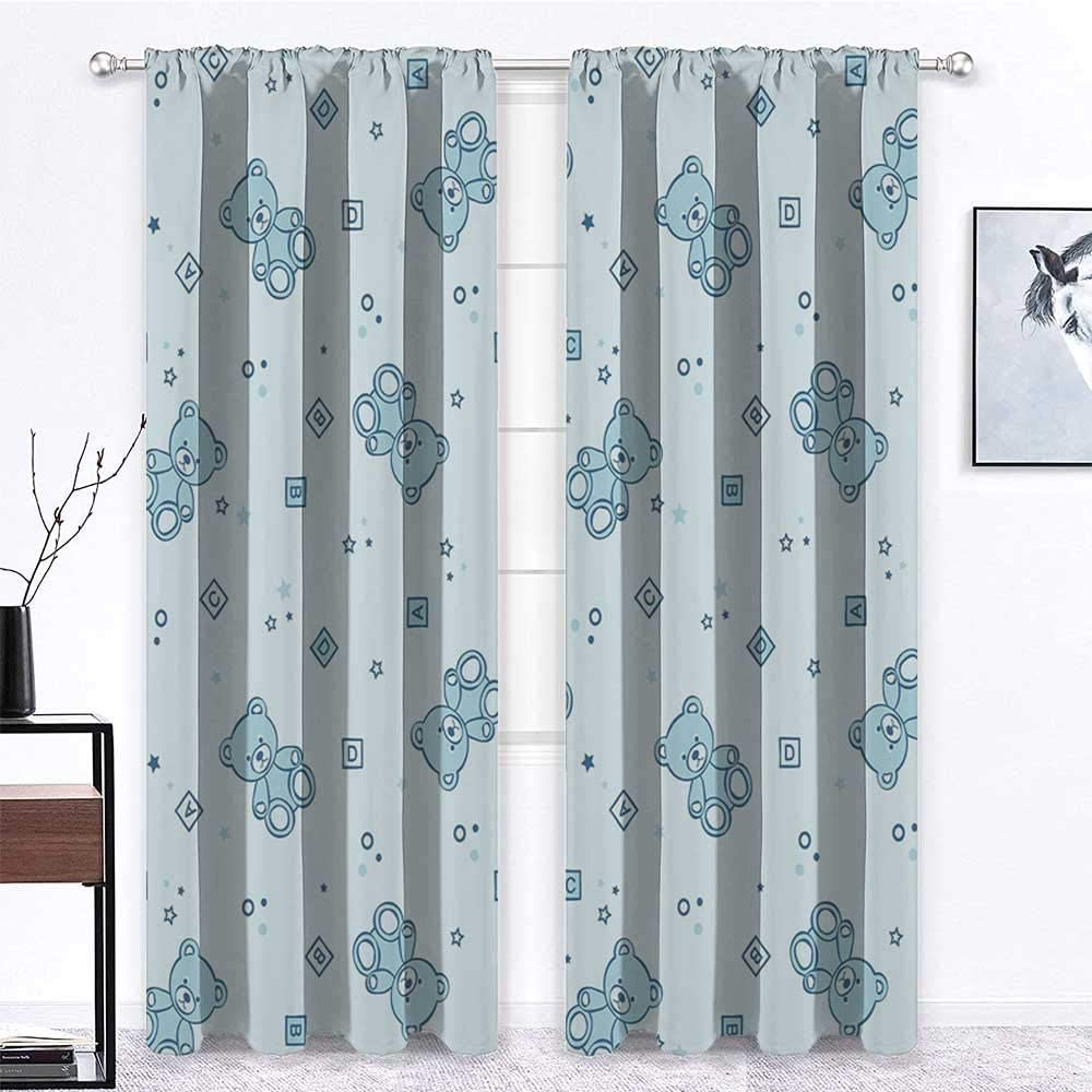 French Door Curtains Nursery Thermal Insulated Window Draperies Teddy Bears and Toys with Letters on Children Imagery Baby Blue Background 2 Panels 96