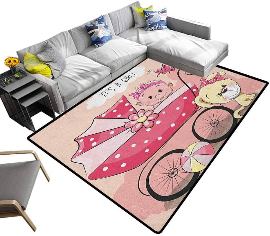 Carpet Floor Mat Gender Reveal, Original Faux Rug Greeting for New Infant Puppy Dog and Baby Carriage Pastel Colors Suitable for Children Nursery Pale Yellow and Pink, 6 x 9 Feet