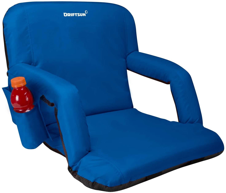 Driftsun Foldable Reclining Stadium Seat - Reclining Bleacher Chair with Back Support for Bleachers, Lawns, and Backyards