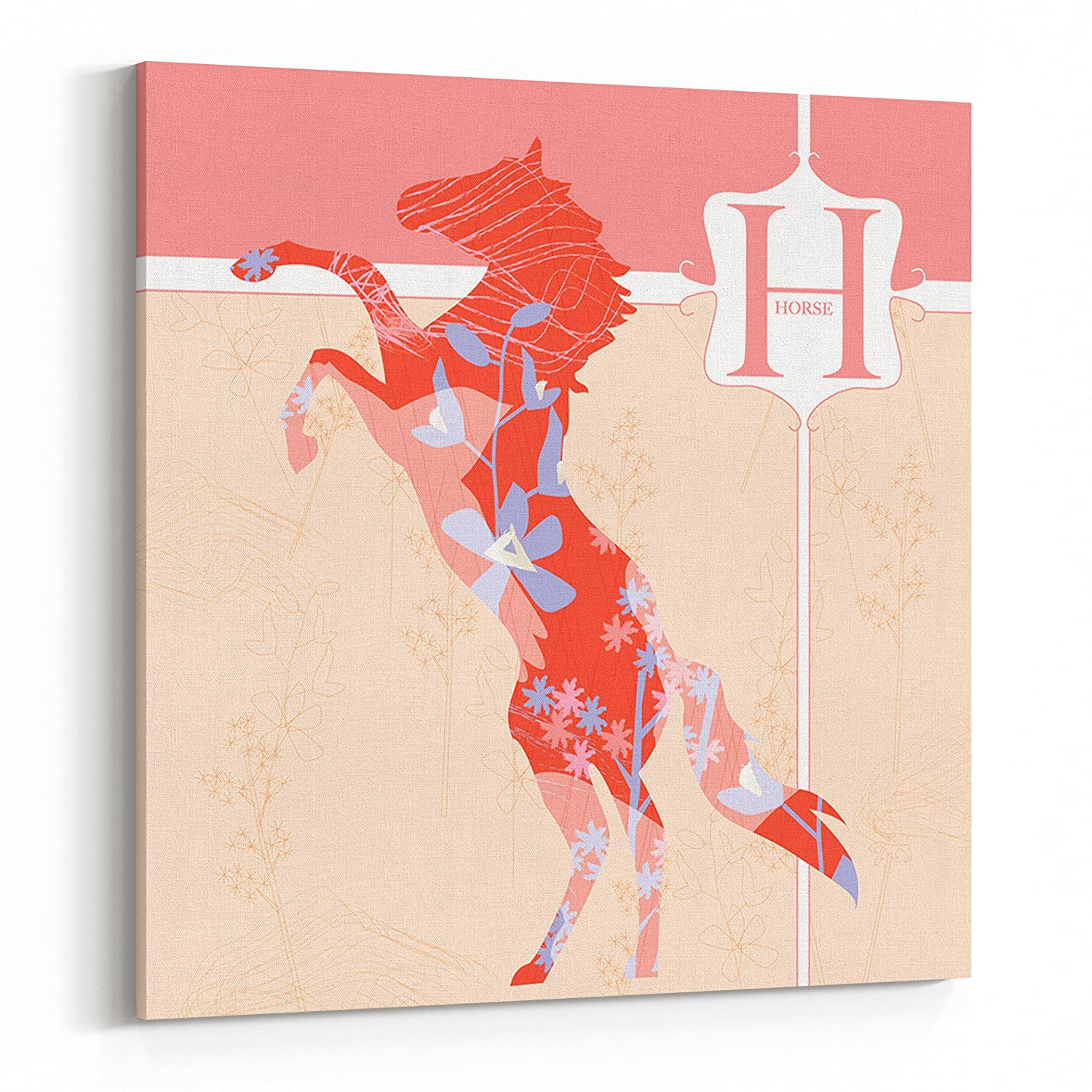 H is for Horse Pink Modern Nursery Art Canvas 20x20 Square