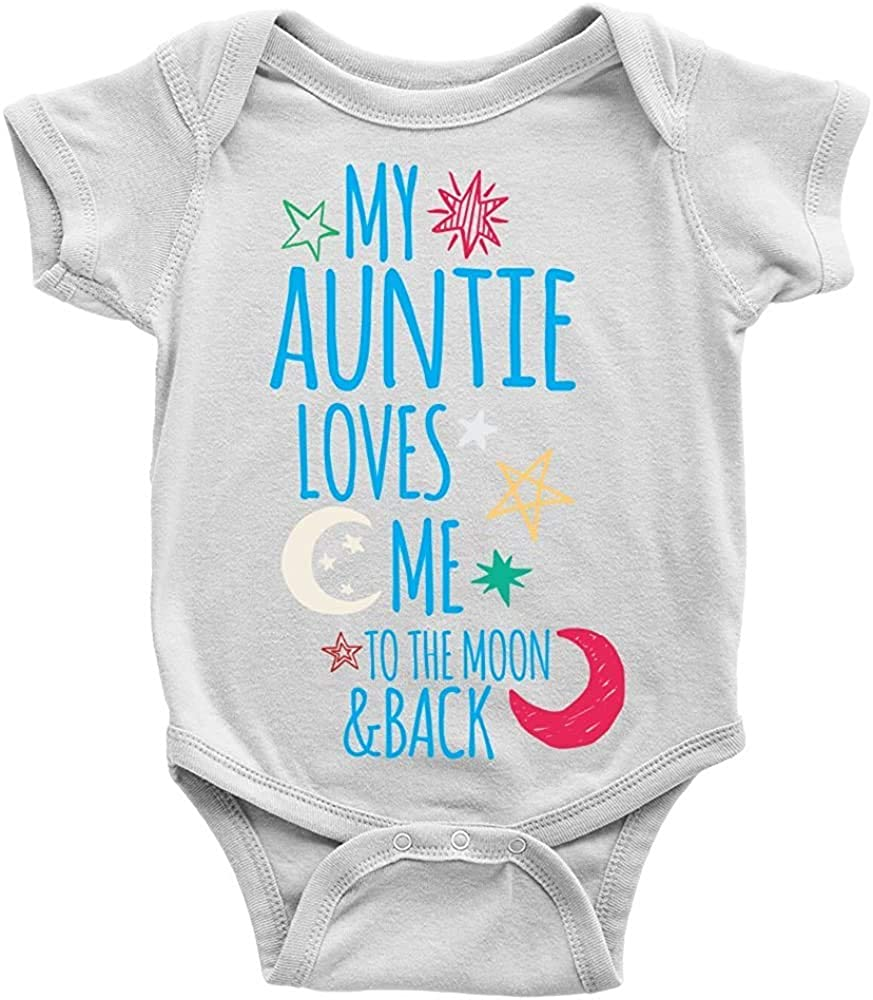 Auntie Loves Me to The Moon Baby Bodysuit Girl boy Infant Toddler Organic Clothes Creeper