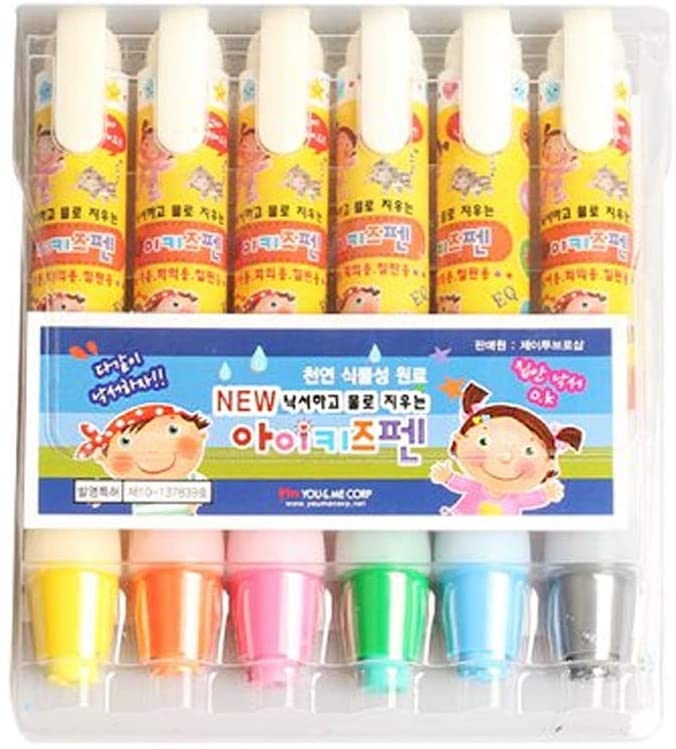 Feel Luck ikidspen, 6 Color Pencils Erased with Water, Non-Toxic, Crayons for Kids