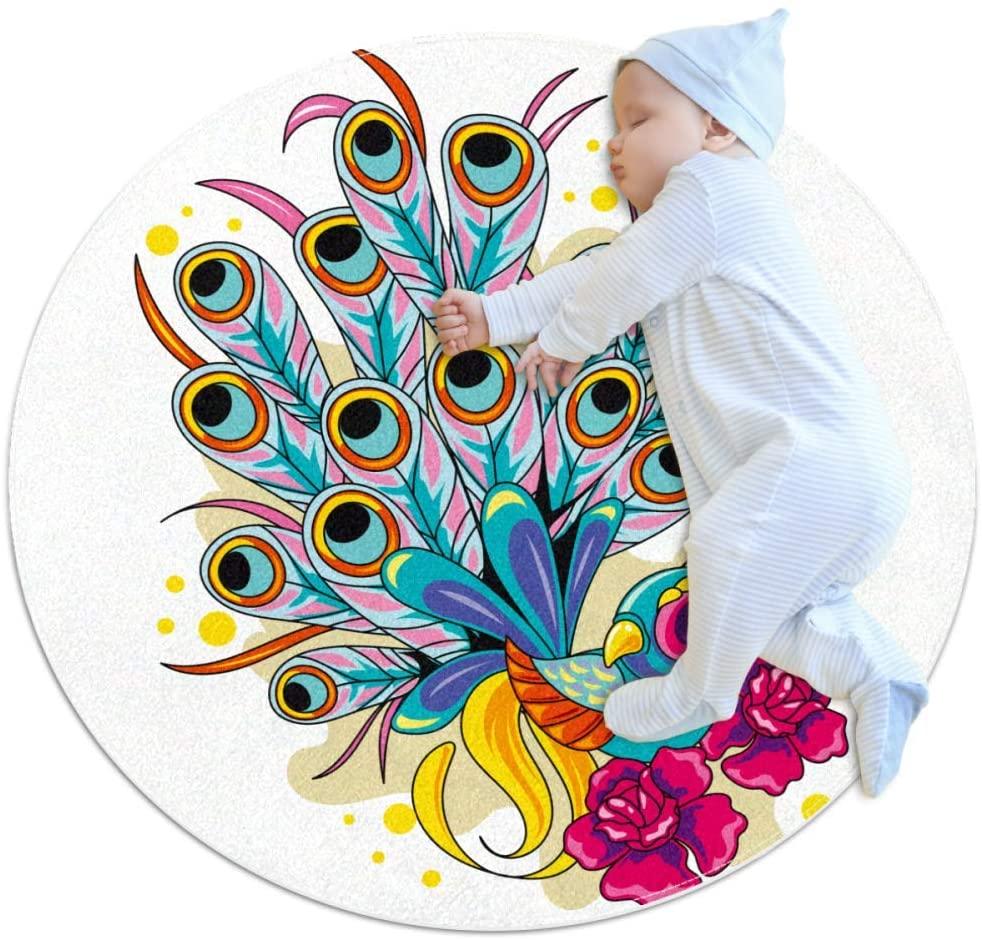 Beautiful Bird Ultra Soft Cotton Baby Kids Rug Round Area Rug Toddler Game Playmat Diameter,39.4x39.4IN