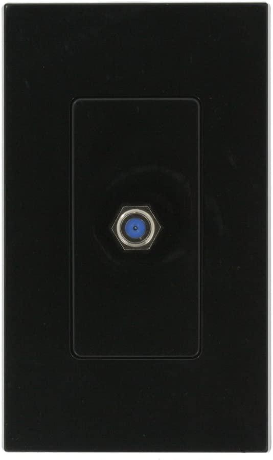 Leviton 80381-E 1-Gang Decora plastic adaptor, Cat TV jack, includes F connector, Black