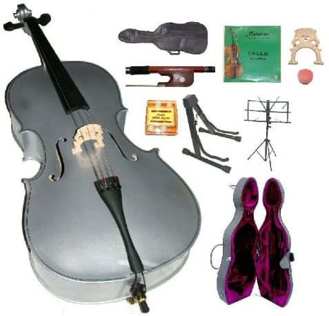 GRACE 1/4 Size SILVER Cello with Hard Case + Soft Carrying Bag+Bow+Rosin+Extra Set of Strings+Extra Bridge+Pitch Pipe+Black Cello Stand+Music Stand BY MERANO