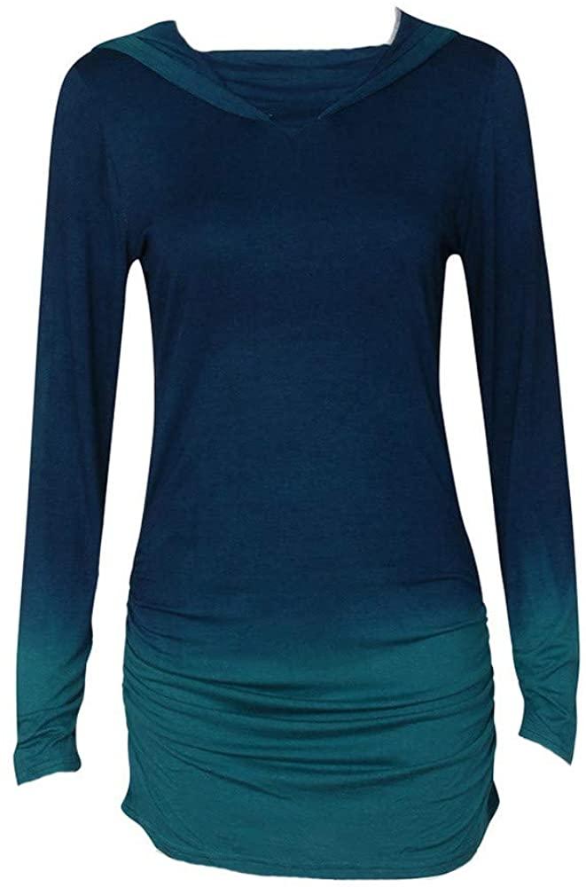 HNTDG Women Gradient Color Crewneck Hoodies Sweatshirt Lightweight Long Sleeve Slim Pullover Tops