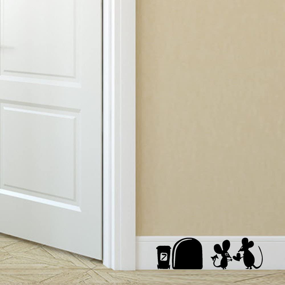 Snowfoller Two Mouse Wall Corner Stickers Removable Art Vinyl Wall Decals for Kids Girl Boy Baby Nursery Classroom Children's Room Decor (Black)