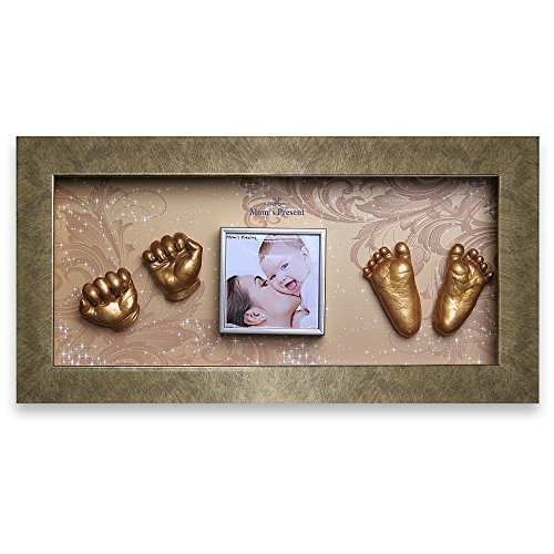 Momspresent Baby Hand Print and Foot Print Deluxe Casting kit with Gold Frame2 Gold