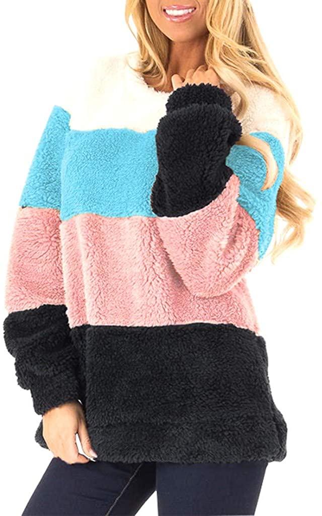 HNTDG Women's Casual Fuzzy Fleece Tops Color Block Sweater Long Sleeve Oversized Lightweight Pullover Sweatshirt