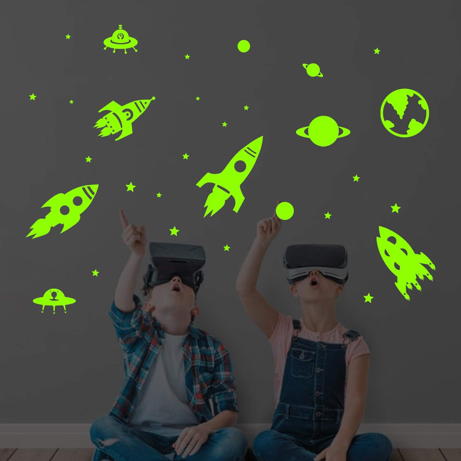 decalmile Glow in The Dark Rockets Planets Wall Decals Luminous Fluorescent Space Stars Wall Stickers Baby Nursery Kids Bedroom Playroom Wall Decor