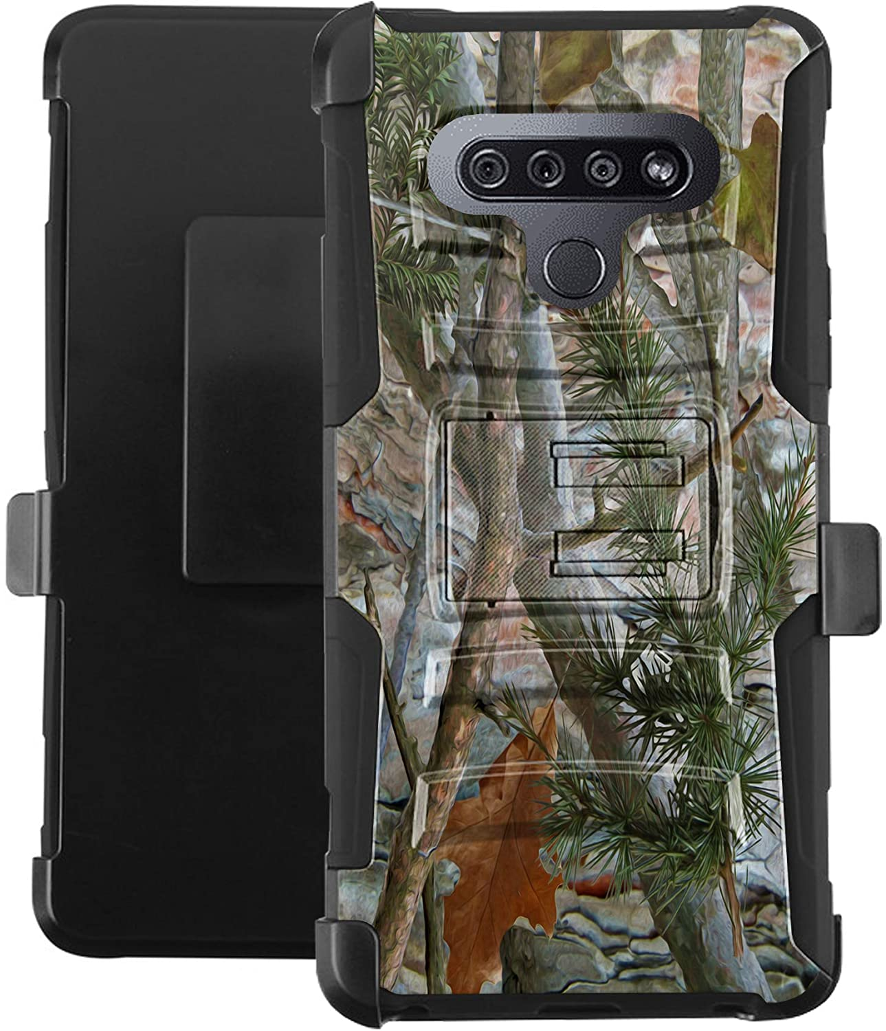 DALUX Hybrid Kickstand Holster Phone Case Compatible with K51 / Reflect- Camo Branches