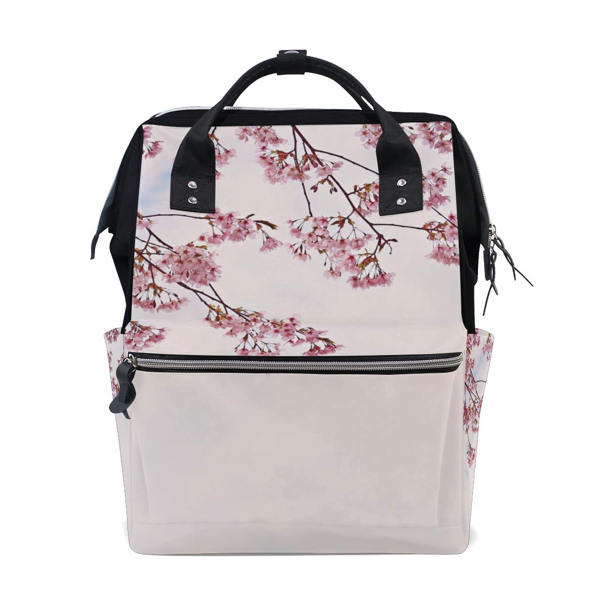 KRYSTYMG Diaper Bag Pink Plum Blossom Backpack Multifunction Travel Back Pack Waterproof Maternity Baby Nursing Nappy Bag for Boy/Girl on Travel Large & Stylish & Durable
