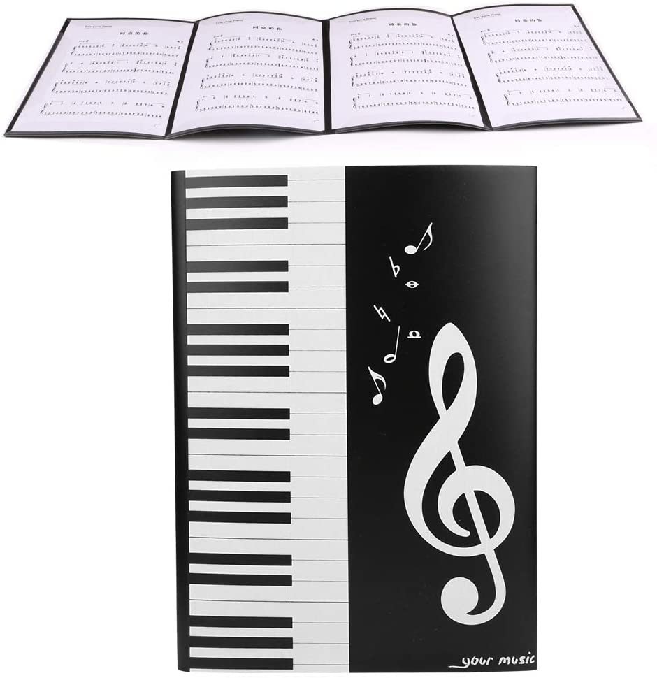 Jimdary 4 Pages Music Folder, A4 Size Plastic Lightweight Black Piano Music Storage Folder, Students Storage of Files for Daily Archiving Musicians