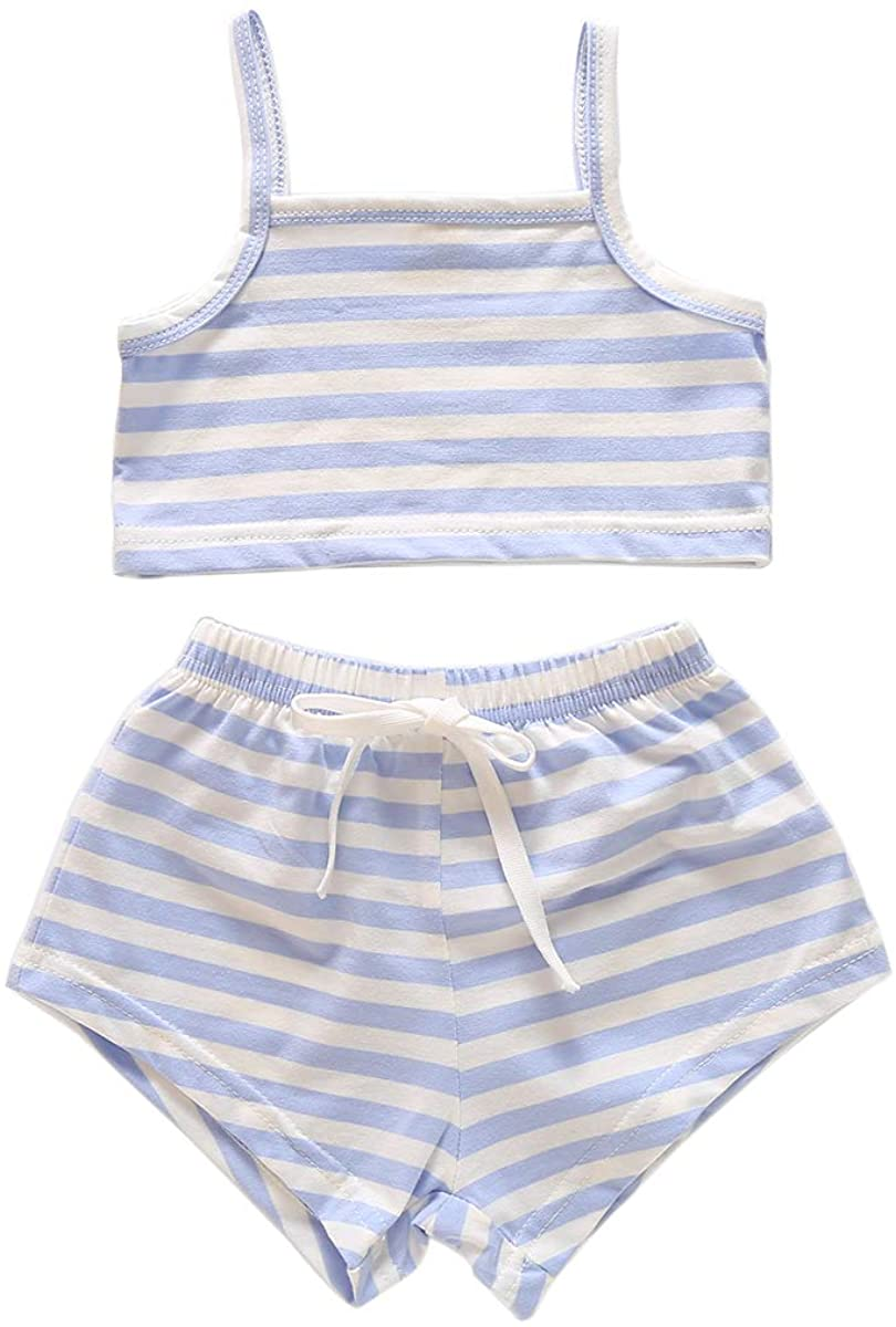 Newborn Infant Baby Girl Summer Short Sets Toddler Girl Stripe Sunsuit Sleeveless Strap Tops Clothes Outfits