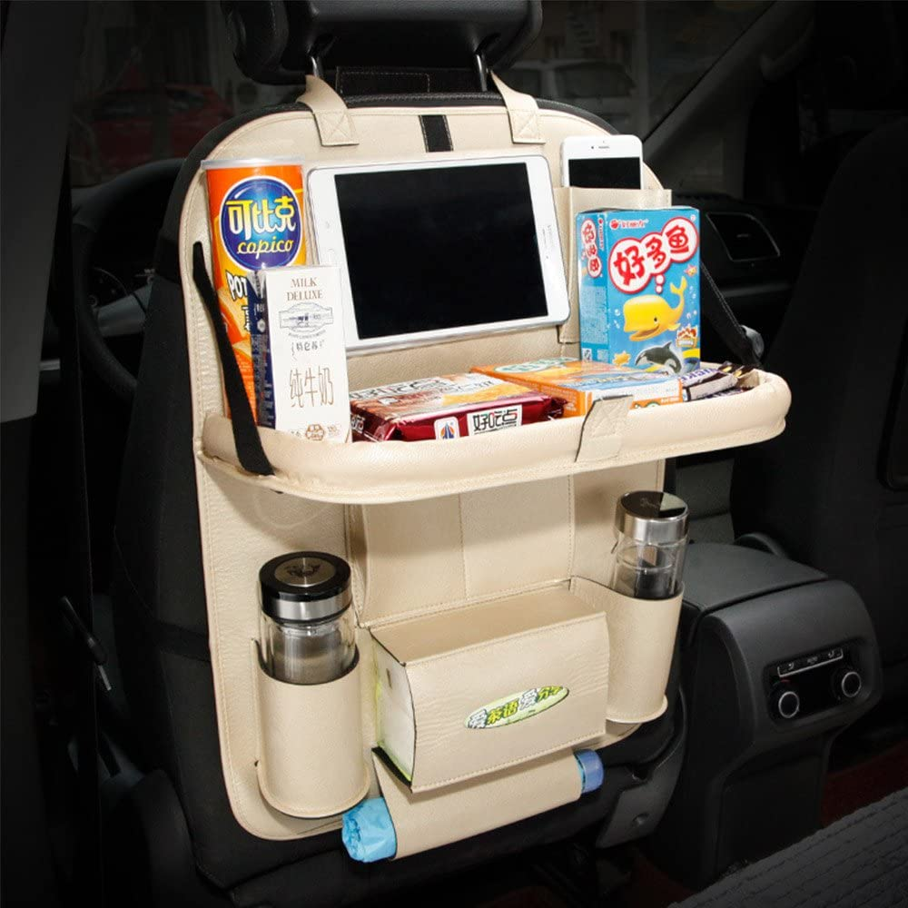 YOANKU Car Backseat Organizer with Table Tray for Baby Kids (Beige)