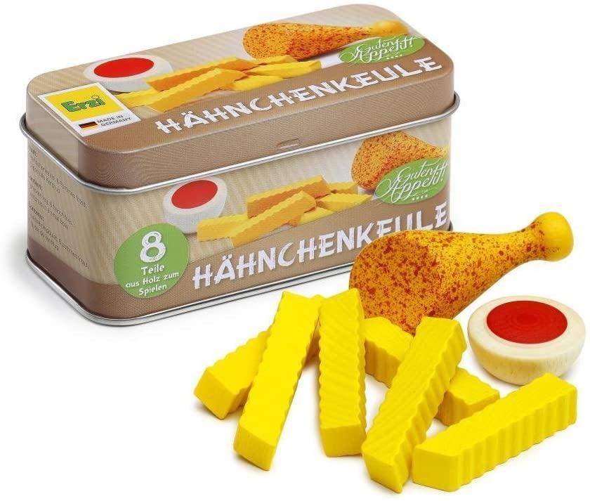 Erzi Wooden Grocery Shop Chicken Leg in a Tin, 10.7 x 4.9 x 4.9 cm