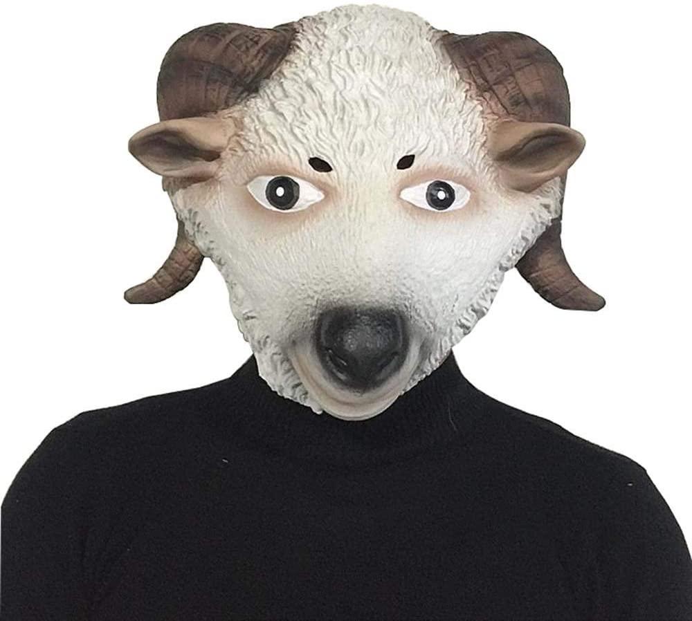 LIULU Toys Games Cute Sheep Head Mask Halloween Mask Animal Headgear Performance Headdress Masquerade Show Props Dress Up Pretend Play (Color : Sheep, Size : One Size)